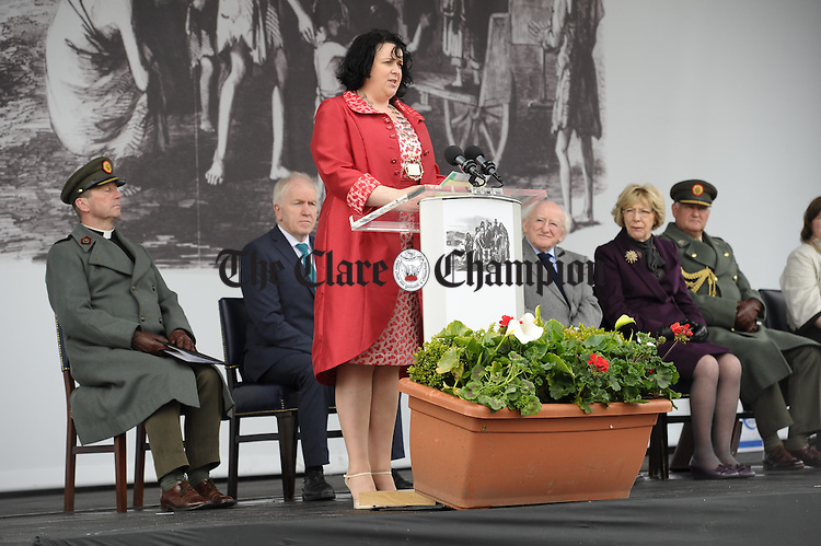 Mayor of Kilrush Mairead O Brien reading an extract from the Illustrated London News during the National Famine Memorial Day Commemoration ceremony at Kilrush. Photograph by John Kelly