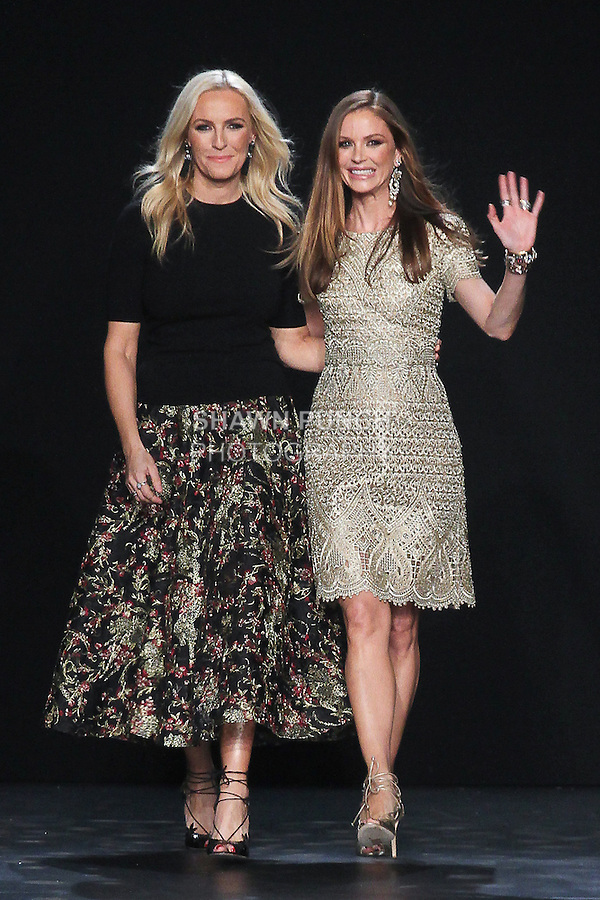 Fashion designers (l-r) Keren Craig and Georgina Chapman thank audience for attending their Marchesa Fall 2016 collection runway show, presented at NYFW: The Shows Fall 2016, during New York Fashion Week Fall 2016.