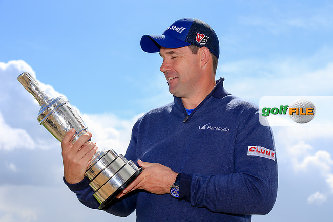 Padraig Harrington with the claret jug after round table talk with the R and A at Dun Laoghaire Golf Club, Enniskerry, Wicklow. 25/04/2017.<br /> Picture: Golffile | Fran Caffrey<br /> <br /> <br /> All photo usage must carry mandatory copyright credit (&copy; Golffile | Fran Caffrey)