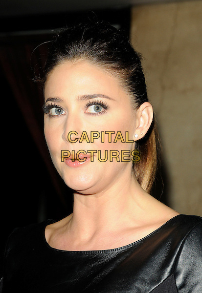 LISA SNOWDON .At the 20th Annual Drapers Awards, Grosvenor House, park Lane, .London, England, UK, .November 17th 2010..portrait headshot hair up mouth open funny black leather .CAP/CAN.©Can Nguyen/Capital Pictures.