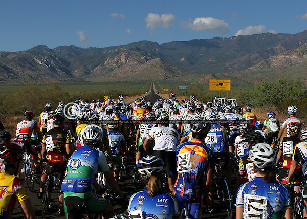 With Mt. Graham in Southeastern Arizona looming in the distance, the peloton prepares to compete in the Arizona Hill Climb Championships on September 11, 2005. The race climbs over 5000 feet in a distance of 20 miles up Mt. Graham.