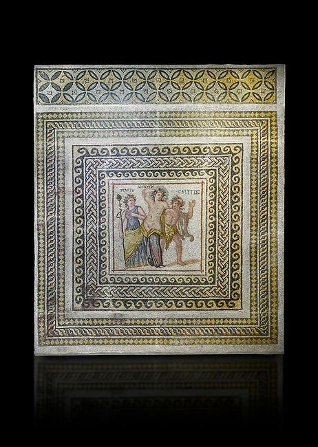 Roman mosaics - Dionysus Mosaic. Poseidon Villa Ancient Zeugama, 3rd century AD . Zeugma Mosaic Museum, Gaziantep, Turkey.   Against a black background.