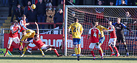 Fleetwood Town's Ched Evans heads clear in defence <br /> <br /> Photographer Andrew Kearns/CameraSport<br /> <br /> The EFL Sky Bet League One - Fleetwood Town v Charlton Athletic - Saturday 2nd February 2019 - Highbury Stadium - Fleetwood<br /> <br /> World Copyright © 2019 CameraSport. All rights reserved. 43 Linden Ave. Countesthorpe. Leicester. England. LE8 5PG - Tel: +44 (0) 116 277 4147 - admin@camerasport.com - www.camerasport.com
