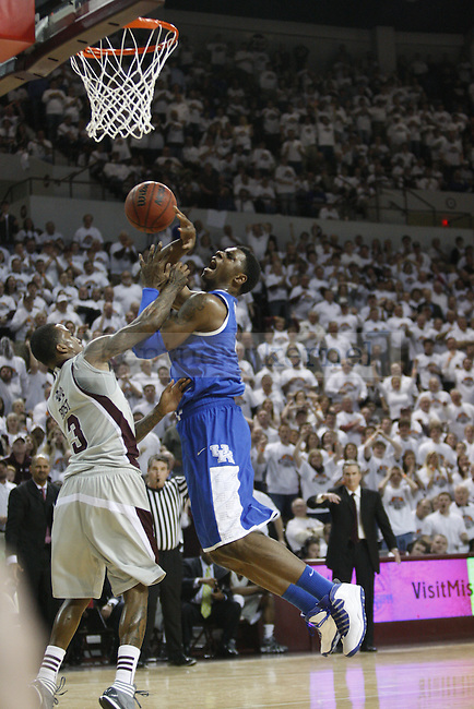 UK sophomore forward Terrence Jones looks to get fouled on a put up under the goal during the first half of UK's home game against Mississippi State at The Hump in Starkville, Miss. Feb. 21, 2012. Photo by Brandon Goodwin | Staff