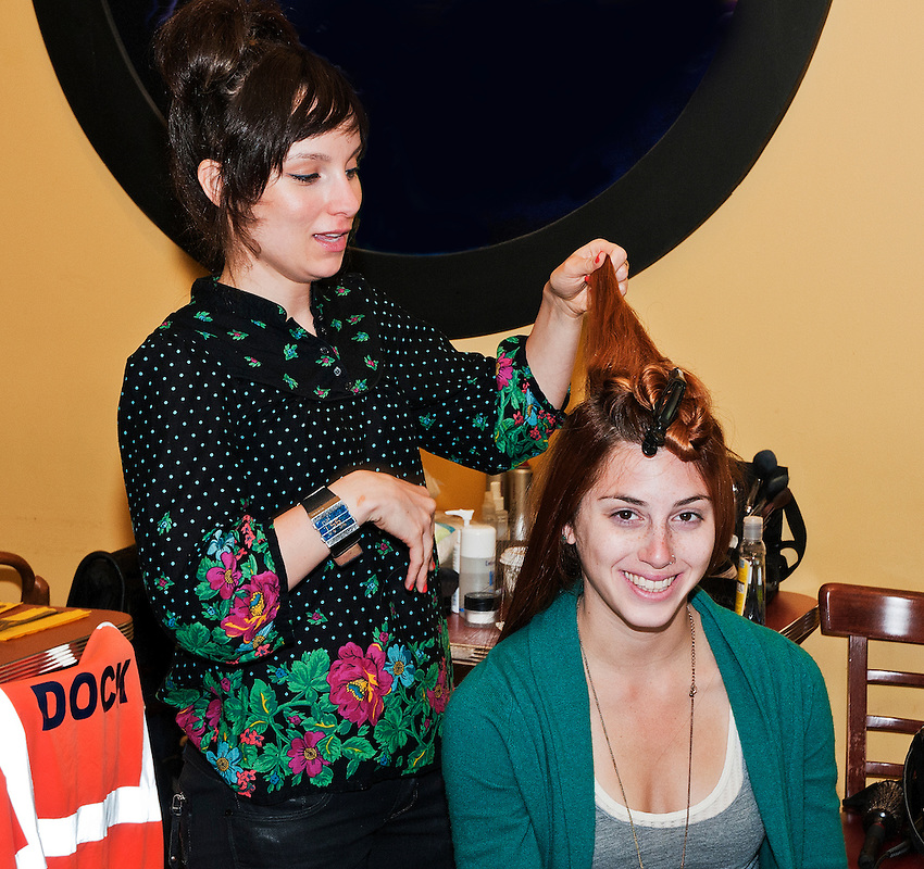 Candice prepares screenwriter Rebecca Haber for her appearance as an extra in The Cascades.