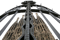Iron gate of the temple, Nativity façade, La Sagrada Familia, Roman Catholic basilica, Barcelona, Catalonia, Spain, built by Antoni Gaudí (Reus 1852 ? Barcelona 1926) from 1883 to his death. Still incomplete. Picture by Manuel Cohen