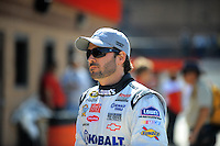 Feb 20, 2009; Fontana, CA, USA; NASCAR Sprint Cup Series driver Jimmie Johnson during practice for the Auto Club 500 at Auto Club Speedway. Mandatory Credit: Mark J. Rebilas-