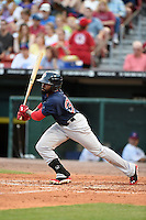 Pawtucket Red Sox outfielder Jackie Bradley Jr. (30) at bat during a game against the Buffalo Bisons on August 26, 2014 at Coca-Cola Field in Buffalo, New  York.  Pawtucket defeated Buffalo 9-3.  (Mike Janes/Four Seam Images)