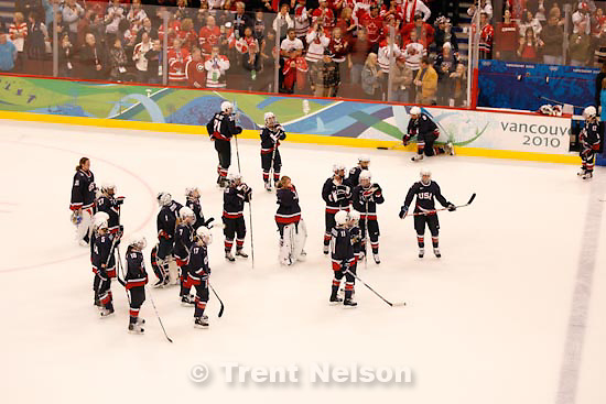 Trent Nelson  |  The Salt Lake Tribune.Members of Team USA after the loss. Canada defeats Team USA in the gold medal game, women's Ice Hockey at the Canada Hockey Place, Vancouver, XXI Olympic Winter Games, Thursday, February 25, 2010.