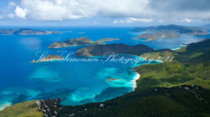 Aerial view of St. John's North Shore.Showing Cinnamon Bay, Maho Bay and Francis Bay.Virgin Islands National Park.St. John, U.S. Virgin Islands
