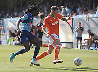 Blackpool's Harry Pritchard under pressure from Wycombe Wanderers' Marcus Bean<br /> <br /> Photographer Kevin Barnes/CameraSport<br /> <br /> The EFL Sky Bet League One - Wycombe Wanderers v Blackpool - Saturday 4th August 2018 - Adams Park - Wycombe<br /> <br /> World Copyright &copy; 2018 CameraSport. All rights reserved. 43 Linden Ave. Countesthorpe. Leicester. England. LE8 5PG - Tel: +44 (0) 116 277 4147 - admin@camerasport.com - www.camerasport.com