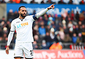 17th March 2018, Liberty Stadium, Swansea, Wales; FA Cup football, quarter-final, Swansea City versus Tottenham Hotspur; Kyle Bartley of Swansea City instructs teammates before a Tottenham Hotspur corner