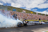 Jul 26, 2015; Morrison, CO, USA; NHRA top fuel driver Larry Dixon during the Mile High Nationals at Bandimere Speedway. Mandatory Credit: Mark J. Rebilas-USA TODAY Sports