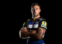 Matt Banahan poses for a portrait in the 2015/16 home kit during a Bath Rugby photocall on September 8, 2015 at Farleigh House in Bath, England. Photo by: Patrick Khachfe / Onside Images