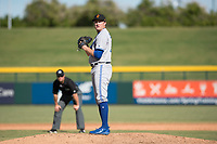 Surprise Saguaros relief pitcher Zach Jackson (36), of the Toronto Blue Jays organization, gets ready to deliver a pitch during an Arizona Fall League game against the Mesa Solar Sox at Sloan Park on November 1, 2018 in Mesa, Arizona. Surprise defeated Mesa 5-4 . (Zachary Lucy/Four Seam Images)