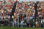 The huge gallery erupt as the 2 teams arrive on the 1st tee box during the Morning Foursomes on Day1 of the Ryder Cup at Valhalla Golf Club, Louisville, Kentucky, USA, 19th September 2008 (Photo by Eoin Clarke/GOLFFILE)