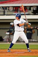 Chad Johnson (15) of the Burlington Royals at bat against the Pulaski Mariners at Burlington Athletic Park on June20 2013 in Burlington, North Carolina.  The Royals defeated the Mariners 2-1 in 13 innings.  (Brian Westerholt/Four Seam Images)