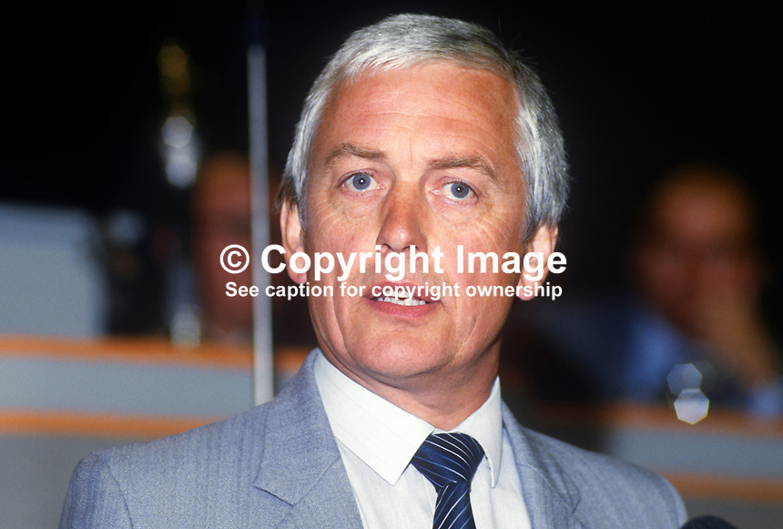 John Sheldon, general secretary, Civil Service Union, UK, at annual conference, TUC, Trades Union Congress. 19860908JS1<br />