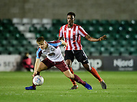 Lincoln City U18's Duncan Idehen vies for possession with South Shieldsy U18's Sam Hodgson<br /> <br /> Photographer Chris Vaughan/CameraSport<br /> <br /> The FA Youth Cup Second Round - Lincoln City U18 v South Shields U18 - Tuesday 13th November 2018 - Sincil Bank - Lincoln<br />  <br /> World Copyright © 2018 CameraSport. All rights reserved. 43 Linden Ave. Countesthorpe. Leicester. England. LE8 5PG - Tel: +44 (0) 116 277 4147 - admin@camerasport.com - www.camerasport.com