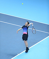 Jamie Murray of Great Britain in action during his match with partner Bruno Soares of South Africa during their match against Raven Klaasen of South Africa and Michael Venus of New Zealand<br /> <br /> Photographer Rob Newell/CameraSport<br /> <br /> International Tennis - Nitto ATP World Tour Finals Day 1 - O2 Arena - London - Sunday 11th November 2018<br /> <br /> World Copyright &copy; 2018 CameraSport. All rights reserved. 43 Linden Ave. Countesthorpe. Leicester. England. LE8 5PG - Tel: +44 (0) 116 277 4147 - admin@camerasport.com - www.camerasport.com