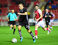 Lincoln City's Harry Anderson gets away from Rotherham United's Anthony Forde<br /> <br /> Photographer Andrew Vaughan/CameraSport<br /> <br /> The Carabao Cup First Round - Rotherham United v Lincoln City - Tuesday 8th August 2017 - New York Stadium - Rotherham<br />  <br /> World Copyright &copy; 2017 CameraSport. All rights reserved. 43 Linden Ave. Countesthorpe. Leicester. England. LE8 5PG - Tel: +44 (0) 116 277 4147 - admin@camerasport.com - www.camerasport.com