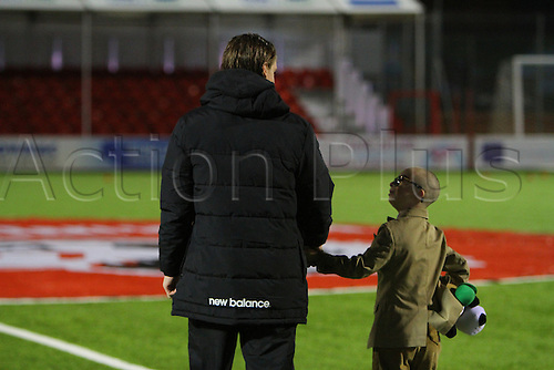 26.02.2016. New Douglas Park, Hamilton, Scotland. Scottish Premier League. Hamilton Academicals versus Celtic. Stefan Johansen with Celtic fan Jay Beatty