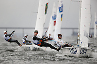 RIO DE JANEIRO, BRAZIL - AUGUST 10:  Stuart McNay of the United States and Dave Hughes of the United States compete in the Men's 470 class on Day 5 of the Rio 2016 Olympic Games at the Marina da Gloria on August 10, 2016 in Rio de Janeiro, Brazil.  (Photo by Ezra Shaw/Getty Images)