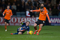 8th November 2019; Dens Park, Dundee, Scotland; Scottish Championship Football, Dundee Football Club versus Dundee United; Calum Butcher of Dundee United is tackled by Paul McGowan of Dundee  - Editorial Use