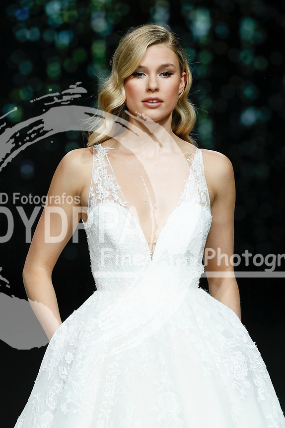 Pronovias fashion show during the Valmont Barcelona Bridal Fashion Week at the Italian Pavilion Fira Montjuic in Barcelona on April 26, 2019.<br /> Keke Lindgard