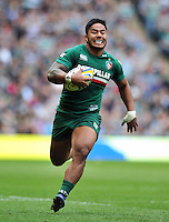 Manu Tuilagi goes on the attack. Aviva Premiership Final, between Leicester Tigers and Northampton Saints on May 25, 2013 at Twickenham Stadium in London, England. Photo by: Patrick Khachfe / Onside Images
