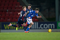 29th December 2019; McDairmid Park, Perth, Perth and Kinross, Scotland; Scottish Premiership Football, St Johnstone versus Ross County; Matthew Kennedy of St Johnstone races past Harry Paton and Brian Graham of Ross County  - Editorial Use