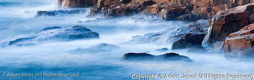 Long exposure of waves against Otter Cliffs, Acadia National Park, Maine