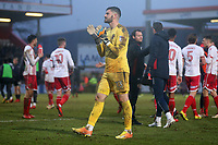 Tom King of Stevenage thanks the fans during Stevenage vs Luton Town, Sky Bet EFL League 2 Football at the Lamex Stadium on 10th February 2018