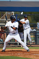 New York Yankees designated hitter Aaron Hicks (31) warms up on deck as Isiah Gilliam bats while on a rehab assignment during an Instructional League game against the Baltimore Orioles September 23, 2017 at the Yankees Minor League Complex in Tampa, Florida.  (Mike Janes/Four Seam Images)