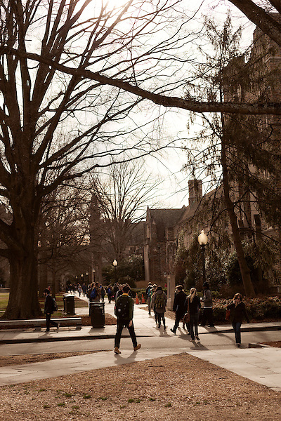 January 23, 2013. Durham, North Carolina. Students pass through West Campus on their way to and from classes.. Duke University has become a power house in the national college basketball arena under the coaching of head coach Mike Krzyzewski. But the university has fought hard to maintain its image of high academic achievement while riding the wave of collegiate athletic success.