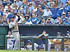 Sep 20, 2014; Kansas City, MO, USA; Detroit Tigers first baseman Miguel Cabrera (24) fields a pop fly near the Kansas City Royals dugout early in the game at Kauffman Stadium. Detroit won 3-2. Mandatory Credit: Denny Medley-USA TODAY Sports