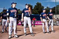 24 May 2009: Luc Piquet, Ian Young, Dany Scalabrini, Quentin Becquey, of Rouen, are seen prior to the final game during the 2009 challenge de France, a tournament with the best French baseball teams - all eight elite league clubs - to determine a spot in the European Cup next year, at Montpellier, France. Rouen wins 7-5 over Savigny.