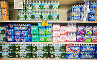 A display of bottled water is seen in a supermarket in New York on Tuesday, July 21, 2015. (© Richard B. Levine)