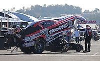 Feb. 14, 2013; Pomona, CA, USA; The car of NHRA funny car driver Courtney Force during qualifying for the Winternationals at Auto Club Raceway at Pomona.. Mandatory Credit: Mark J. Rebilas-