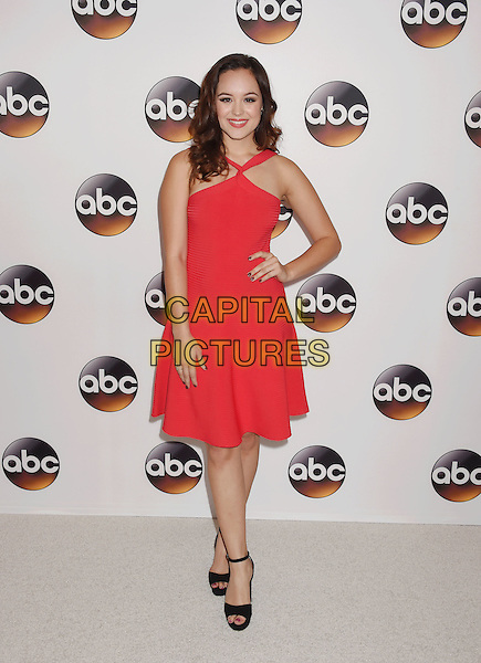 BEVERLY HILLS, CA - AUGUST 04: Actress Hayley Orrantia arrives at the Disney ABC Television Group TCA Summer Press Tour at the Beverly Hilton Hotel on August 4, 2016 in Beverly Hills, California.<br /> CAP/ROT/TM<br /> &copy;TM/ROT/Capital Pictures