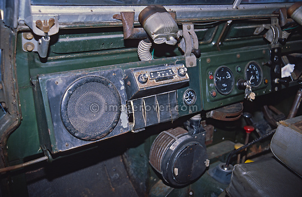 Historic AM radio fitted in a very original and unrestored 1962 Series 2a Land Rover in dark bronze green. CAR RELEASE AVAILABLE. RIGHTS PROTECTION AVAILABLE ON REQUEST. Automotive trademarks are the property of the trademark holder, authorization may be needed for some uses.