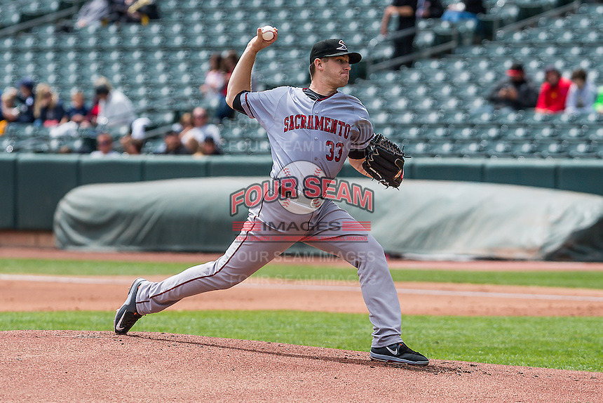 Sacramento River Cats starting pitcher Chris Stratton (33 delivers a pitch to the plate against the Salt Lake Bees in Pacific Coast League action at Smith's Ballpark on May 01, 2016 in Salt Lake City, Utah. Sacramento defeated Salt Lake 16-6.  (Stephen Smith/Four Seam Images)
