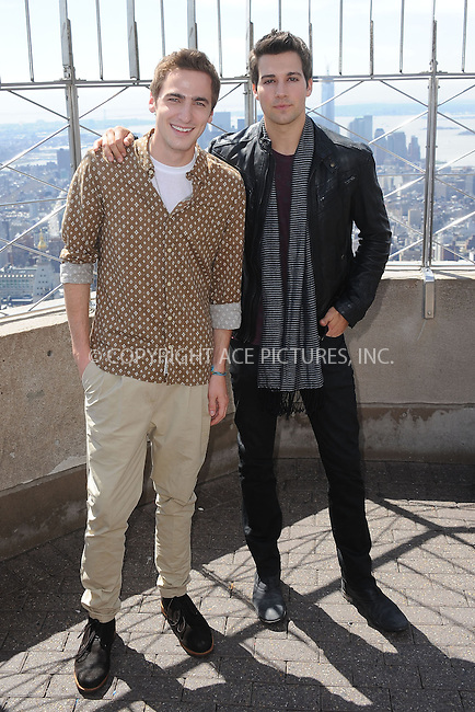 WWW.ACEPIXS.COM . . . . . .April 17, 2013...New York City....James Maslow and Kendall Schmidt of Big Time Rush at the Empire State Building Observatory on April 17, 2013 in New York City ....Please byline: KRISTIN CALLAHAN - ACEPIXS.COM.. . . . . . ..Ace Pictures, Inc: ..tel: (212) 243 8787 or (646) 769 0430..e-mail: info@acepixs.com..web: http://www.acepixs.com .