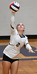Althoff's Abby Lanter serves. Edwardsville defeated Althoff in a Class 4A volleyball sectional semifinal at O'Fallon HS in O'Fallon, IL on November 4, 2019.<br /> Tim Vizer/Special to STLhighschoolsports.com