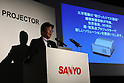 "May 18, 2010 - Tokyo, Japan - Japan's electronics giant Sanyo unveils a new ultra short-focus projector with 3D Ready, in Tokyo, Japan, on May 18, 2010. The new model which goes on sale in July offers the world's shortest projection distance as Large 80"" image can be projected from 32 cm, said the company. It can also be set up vertically or horizontally for enjoying large images projected from right on the wall."