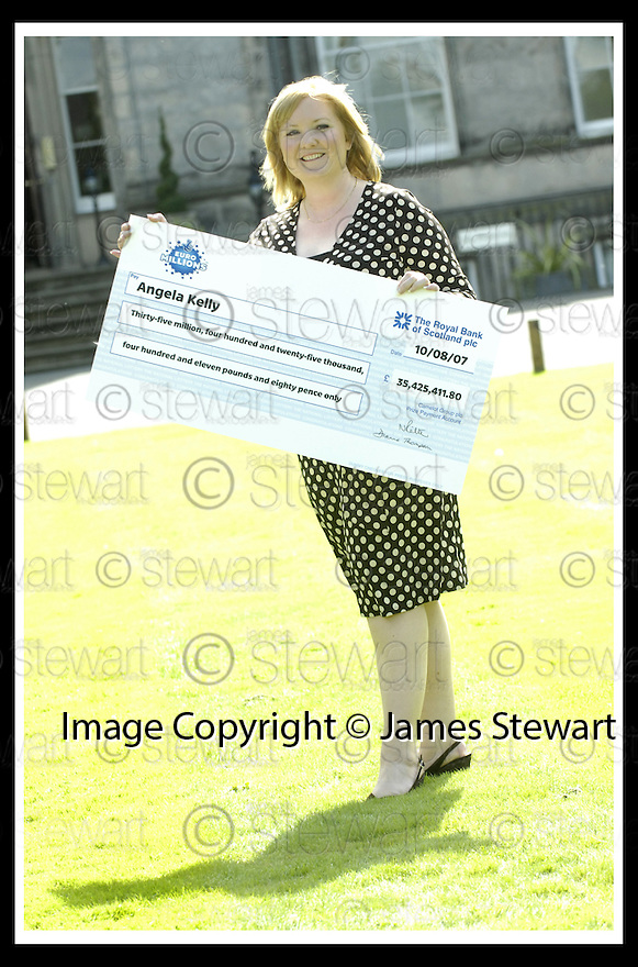 15/08/2007       Copyright Pic: James Stewart.File Name : sct_jspa15_lottery.ANGELA KELLY AT THE PRESS CONFERENCE WHERE SHE COLLECTED HER CHEQUE FOR £35,425,411.80 AFTER HER EUROMILLIONS LOTTERY WIN.....James Stewart Photo Agency 19 Carronlea Drive, Falkirk. FK2 8DN      Vat Reg No. 607 6932 25.Office     : +44 (0)1324 570906     .Mobile   : +44 (0)7721 416997.Fax         : +44 (0)1324 570906.E-mail  :  jim@jspa.co.uk.If you require further information then contact Jim Stewart on any of the numbers above........