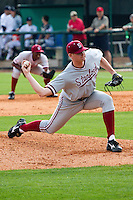 HOUSTON, TEXAS - Feb. 19, 2011: In his first career appearance for Stanford,  reliever A.J. Talt throws 3.1 innings of shutout ball during the game at Rice. Rice defeated Stanford 7-1.