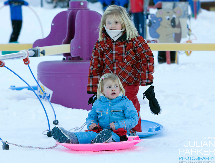 Princess Alexia, Princess Catharina Amalia of Holland attend a Photocall with Members of The Dutch Royal Family during their Winter Ski Holiday in Lech Austria