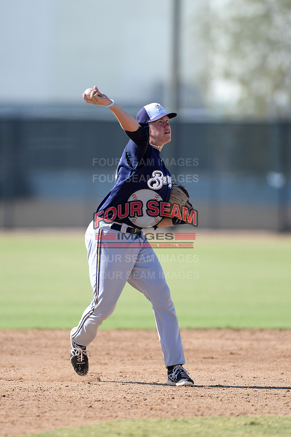 Milwaukee Brewers third baseman Tucker Neuhaus (2) during an Instructional League game against the Oakland Athletics on October 10, 2013 at Maryvale Baseball Park Training Complex in Phoenix, Arizona.  (Mike Janes/Four Seam Images)