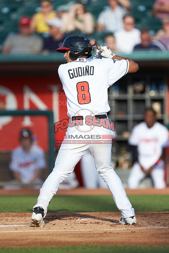 Yeltsin Gudino (8) of the Lansing Lugnuts at bat against the South Bend Cubs at Cooley Law School Stadium on June 15, 2018 in Lansing, Michigan. The Lugnuts defeated the Cubs 6-4.  (Brian Westerholt/Four Seam Images)